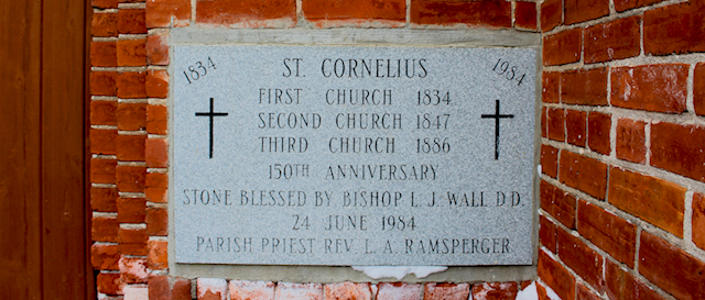 a cornerstone for St. Cornelius Church