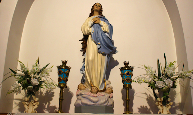A statue of the virgin mary on an arched wall